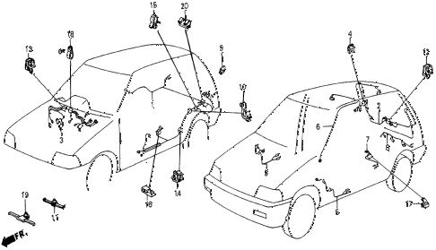 1986 civic 4WD 5 DOOR 5MT REAR WIRE HARNESS diagram