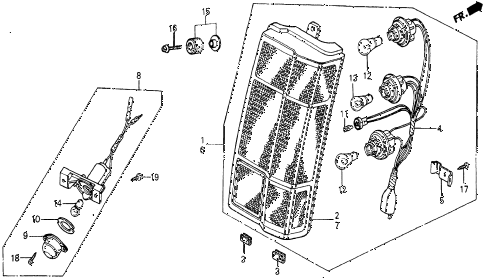 1986 civic 4WD 5 DOOR 5MT TAILLIGHT diagram