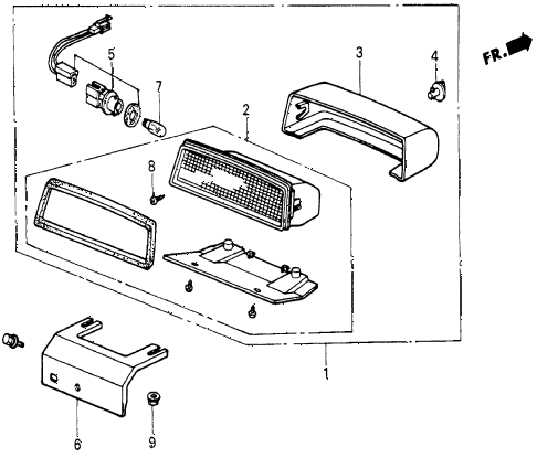 1986 civic 4WD 5 DOOR 5MT HIGH-MOUNT STOP LIGHT diagram