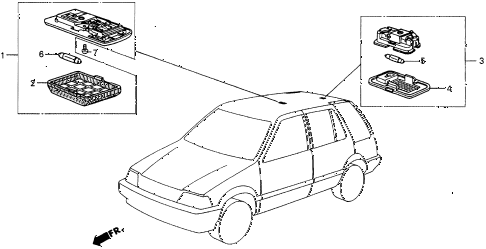 1986 civic 4WD 5 DOOR 5MT INTERIOR LIGHT diagram