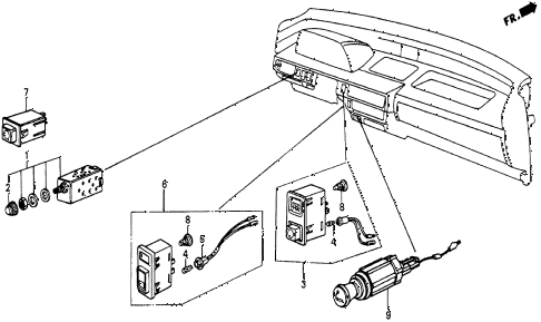 1986 civic 4WD 5 DOOR 5MT SWITCH diagram