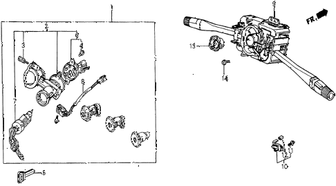 1986 civic 4WD 5 DOOR 5MT STEERING WHEEL SWITCH diagram