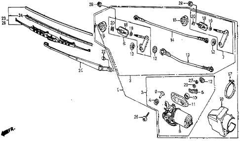 1986 civic 4WD 5 DOOR 5MT FRONT WINDSHIELD WIPER diagram