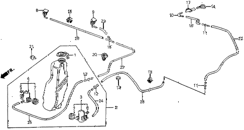 1986 civic 4WD 5 DOOR 5MT WINDSHIELD WASHER diagram