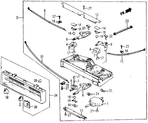 1986 civic 4WD 5 DOOR 5MT HEATER LEVER diagram