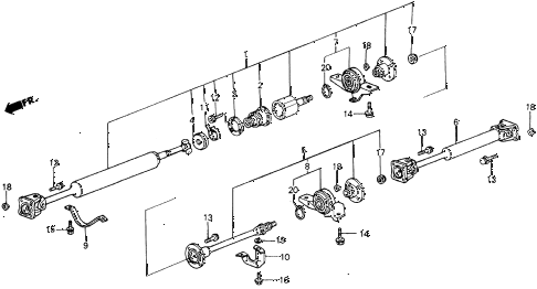 1986 civic 4WD 5 DOOR 5MT PROPELLER SHAFT (1) diagram