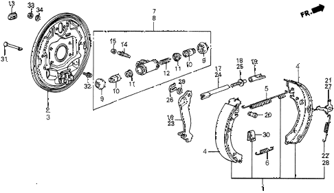 1986 civic 4WD 5 DOOR 5MT REAR BRAKE SHOE diagram