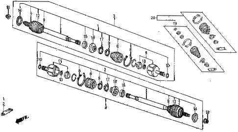 1986 civic 4WD 5 DOOR 5MT DRIVESHAFT diagram