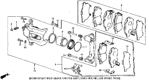 1986 civic 4WD 5 DOOR 5MT FRONT BRAKE diagram