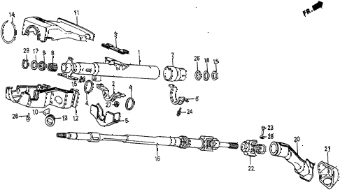 1986 civic 4WD 5 DOOR 5MT STEERING COLUMN diagram