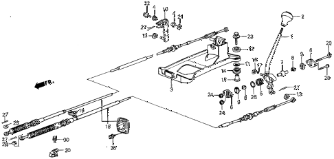 1986 civic 4WD 5 DOOR 5MT SHIFT LEVER diagram