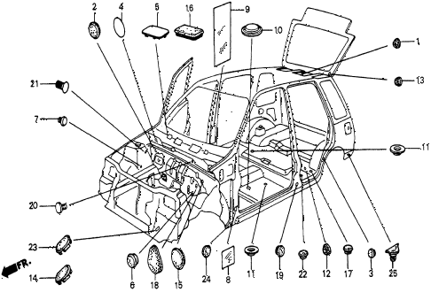 1986 civic 4WD 5 DOOR 5MT GROMMET - PLUG diagram