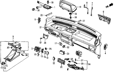 1986 civic 4WD 5 DOOR 5MT INSTRUMENT PANEL diagram