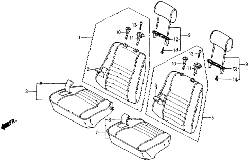 1986 civic 4WD 5 DOOR 5MT FRONT SEAT diagram