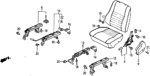1986 civic 4WD 5 DOOR 5MT FRONT SEAT COMPONENTS diagram