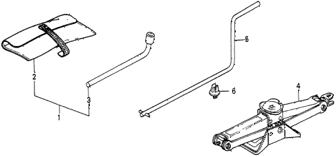 1986 civic 4WD 5 DOOR 5MT TOOLS - JACK diagram