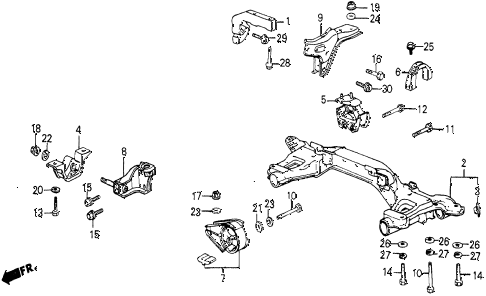 1986 civic 4WD 5 DOOR 5MT ENGINE MOUNT diagram