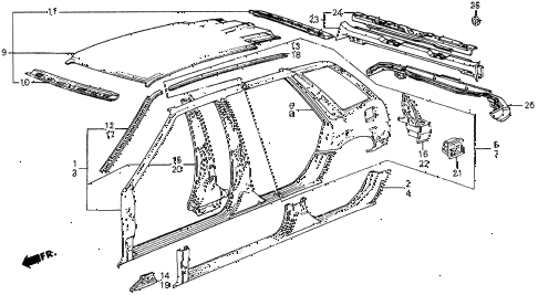 1986 civic 4WD 5 DOOR 5MT OUTER PANEL diagram