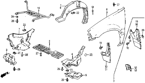 1986 civic 4WD 5 DOOR 5MT FRONT FENDER diagram