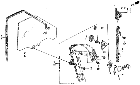 1986 civic 4WD 5 DOOR 5MT FRONT DOOR WINDOW diagram