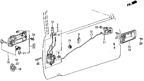 1986 civic 4WD 5 DOOR 5MT FRONT DOOR LOCKS diagram