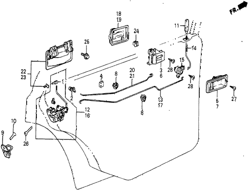 1986 civic 4WD 5 DOOR 5MT REAR DOOR LOCKS diagram