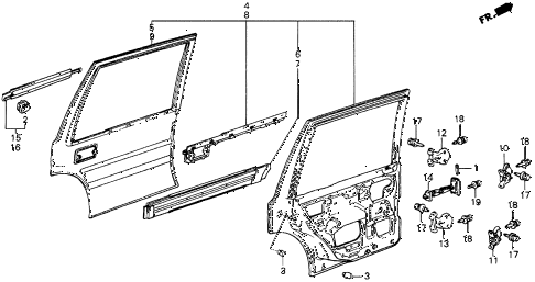 1986 civic 4WD 5 DOOR 5MT REAR DOOR PANELS diagram