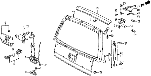1986 civic 4WD 5 DOOR 5MT TAILGATE diagram