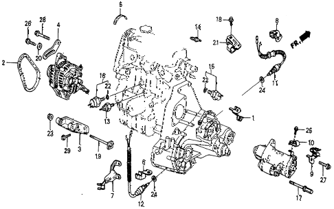 1986 civic 4WD 5 DOOR 5MT ALTERNATOR BRACKET diagram