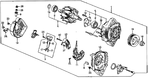 1986 civic 4WD 5 DOOR 5MT ALTERNATOR diagram