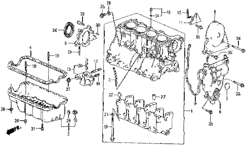 1986 civic 4WD 5 DOOR 5MT CYLINDER BLOCK - OIL PAN diagram
