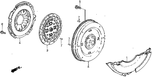 1986 civic 4WD 5 DOOR 5MT MT CLUTCH - FLYWHEEL diagram