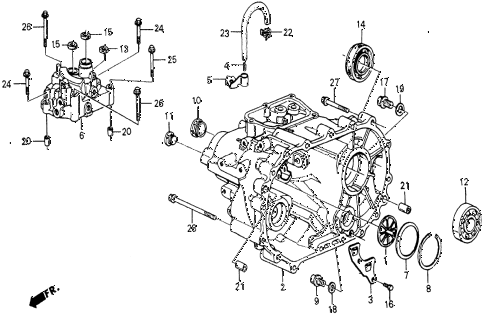 1986 civic 4WD 5 DOOR 5MT MT TRANSMISSION HOUSING diagram