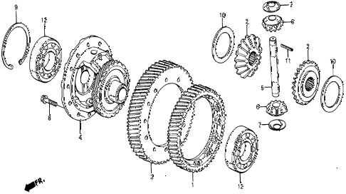1986 civic 4WD 5 DOOR 5MT MT DIFFERENTIAL GEAR diagram