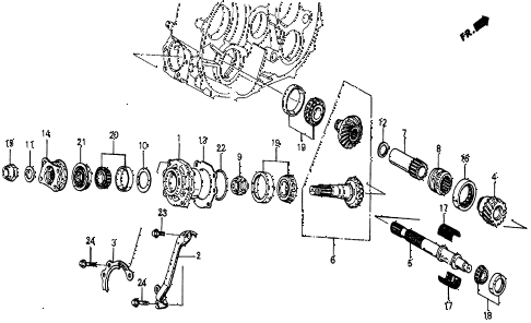 1986 civic 4WD 5 DOOR 5MT MT TRANSFER BEVEL GEAR diagram