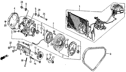 1986 civic 4WD 5 DOOR 5MT A/C COMPRESSOR (KEIHIN) diagram