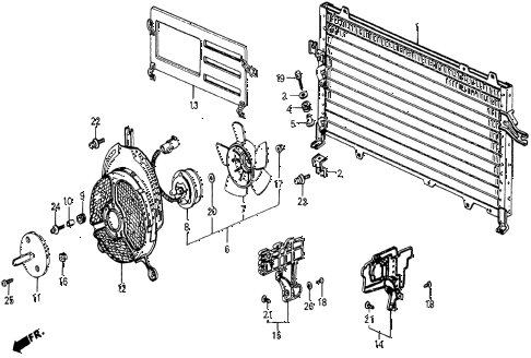 1986 civic 4WD 5 DOOR 5MT A/C CONDENSER (KEIHIN) diagram