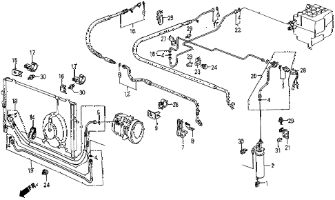 1986 civic 4WD 5 DOOR 5MT A/C HOSES - PIPES (KEIHIN) diagram