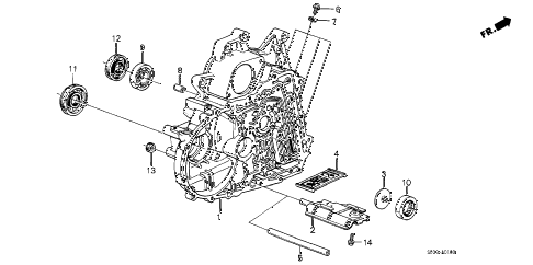 1988 accord DX 3 DOOR 4AT AT TORQUE CONVERTER HOUSING diagram