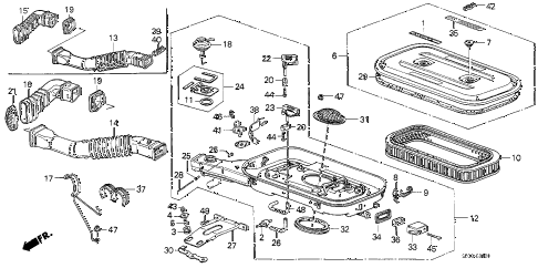 1988 accord DX 3 DOOR 4AT AIR CLEANER (CARBURETOR) diagram