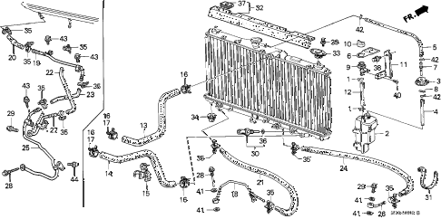 1986 accord DX 4 DOOR 5MT RADIATOR HOSE diagram