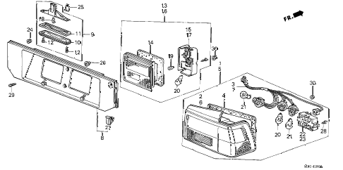 1986 accord LXI 4 DOOR 4AT TAILLIGHT (4D) (1) 4DR diagram