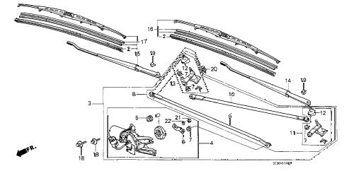 1989 accord DX 3 DOOR 4AT FRONT WINDSHIELD WIPER diagram