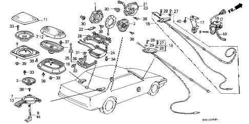 1989 accord LXI 3 DOOR 4AT RADIO ANTENNA - SPEAKER diagram