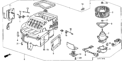 1986 accord DX 4 DOOR 5MT HEATER BLOWER diagram
