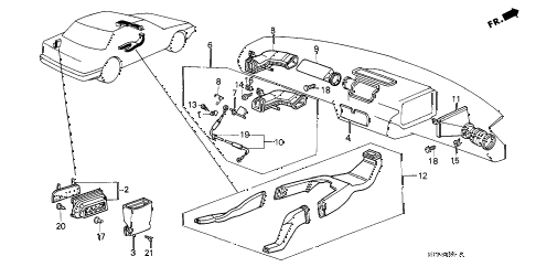 1986 accord LX 4 DOOR 4AT HEATER DUCT diagram