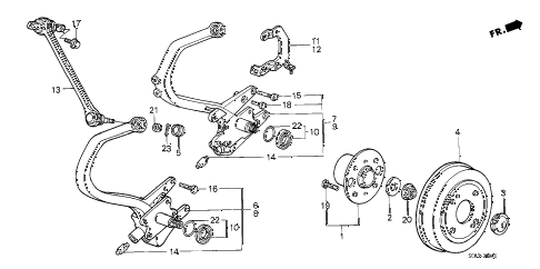 1987 accord LXI 3 DOOR 5MT REAR KNUCKLE - BRAKE DRUM diagram