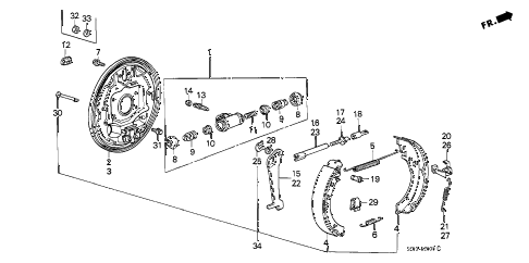 1986 accord LX 4 DOOR 5MT REAR BRAKE SHOE diagram