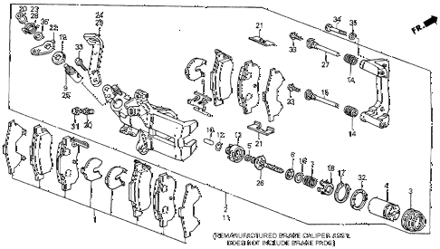 1989 accord SEI 4 DOOR 4AT REAR BRAKE CALIPER diagram