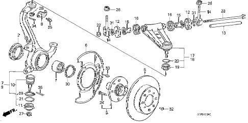 1986 accord DX 4 DOOR 5MT STEERING KNUCKLE - FRONT BRAKE DISK diagram